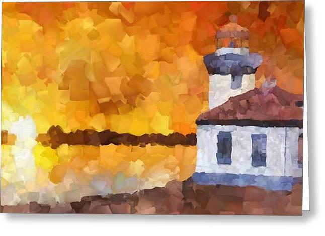 Lighthouse Sunset Palette Knife Oil Greeting Card