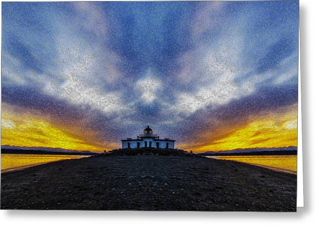 Lighthouse Sunset Reflection Oil Painting Greeting Card by Pelo Blanco Photo