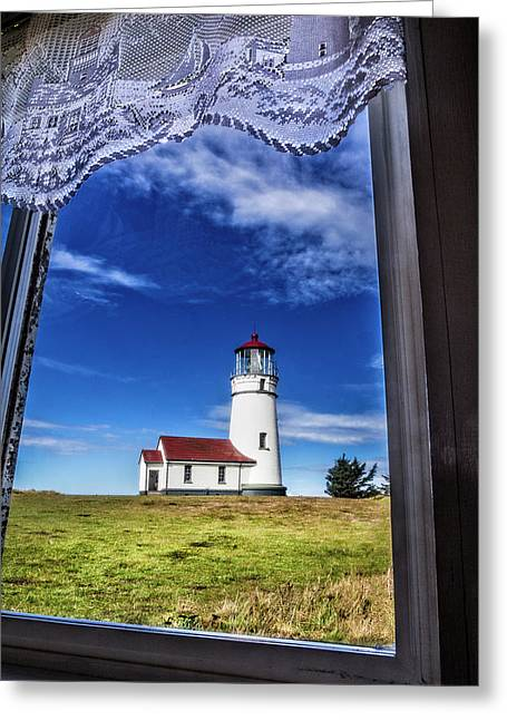 Lighthouse Through The Window Greeting Card
