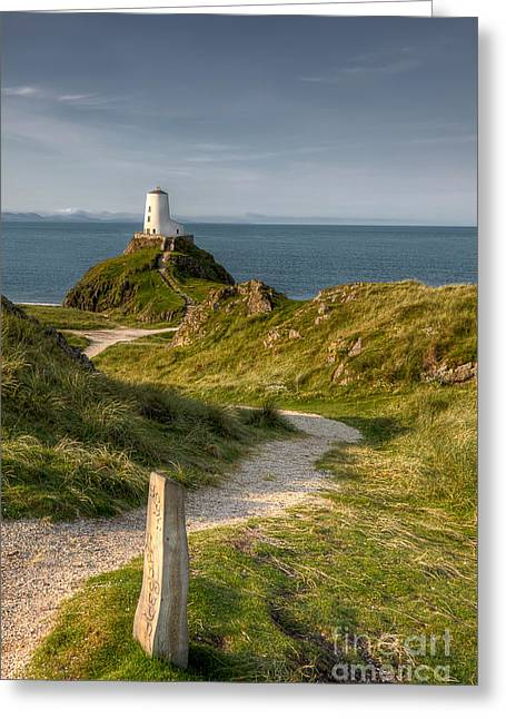Lighthouse Twr Mawr Greeting Card by Adrian Evans