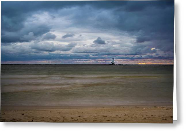 Lighthouse Under Brewing Clouds Greeting Card