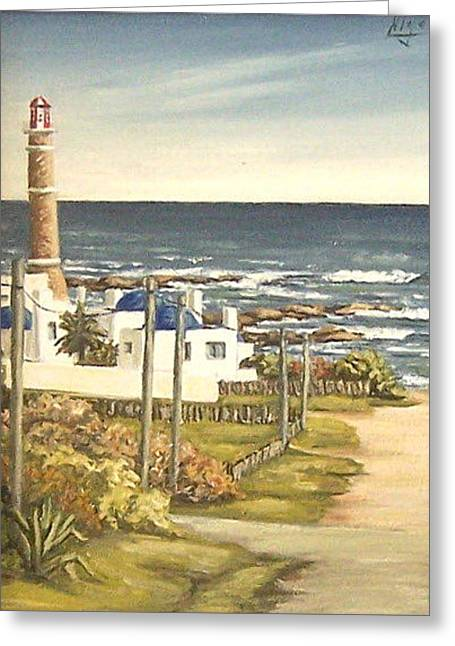 Greeting Card featuring the painting Lighthouse Uruguay  by Natalia Tejera