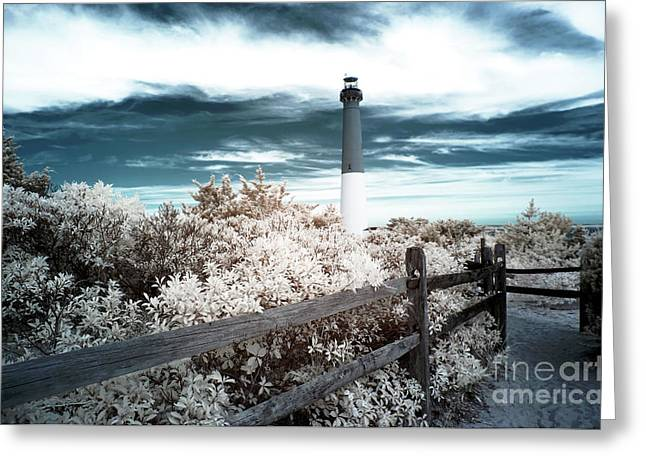 Lighthouse Walk Infrared Greeting Card