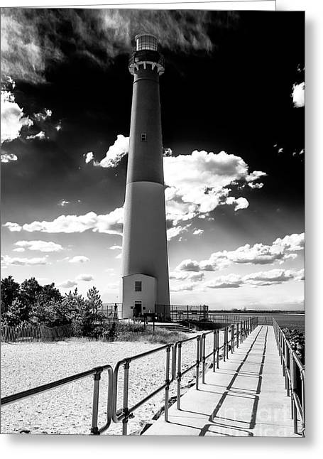 Lighthouse Walk Long Beach Island Greeting Card by John Rizzuto
