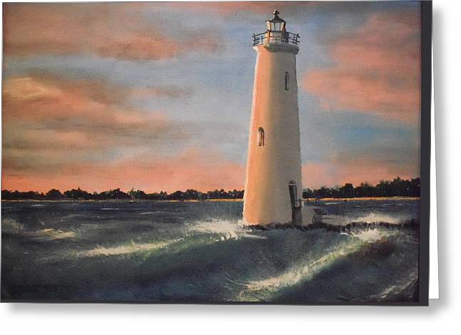Lighthouse Waves Greeting Card