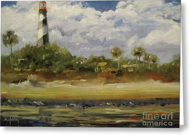Lighthouse Whispers Greeting Card by Mary Hubley