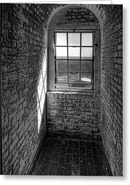 Lighthouse Window  Black And White Greeting Card by Peter Tellone