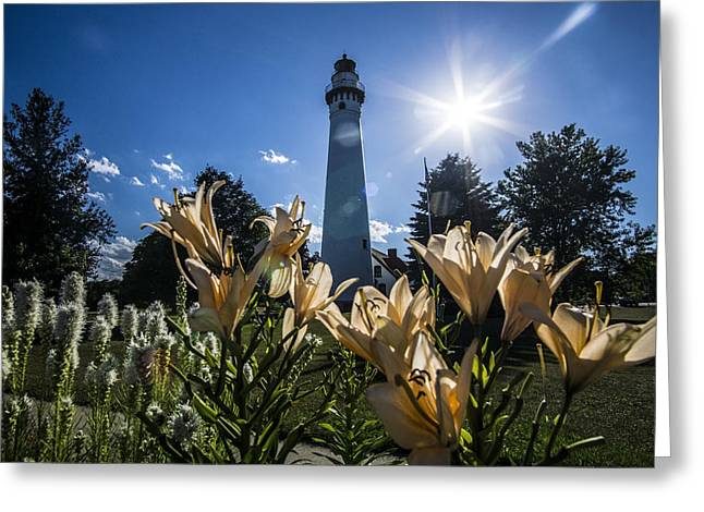 Lighthouse With A Flowery Foreground Greeting Card