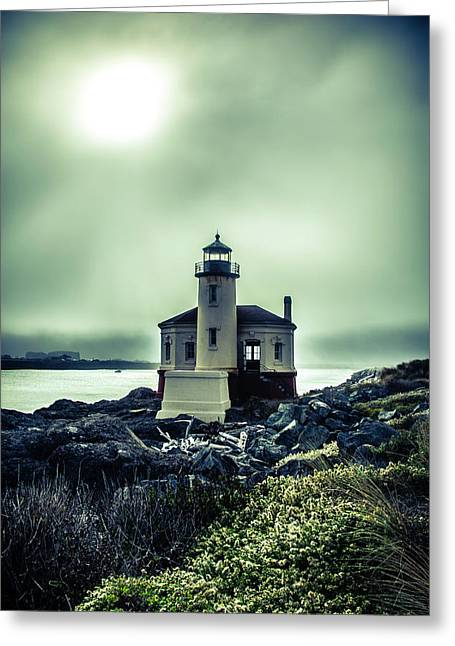 Lighthouse With Foggy Sun Greeting Card by Garry Gay
