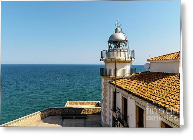 Lighthouse With Mediterranean Sea As Background Greeting Card by Radu Bercan