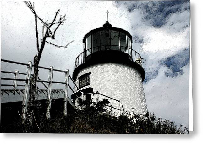 Lighthouse With Twist Greeting Card by Dennis Curry