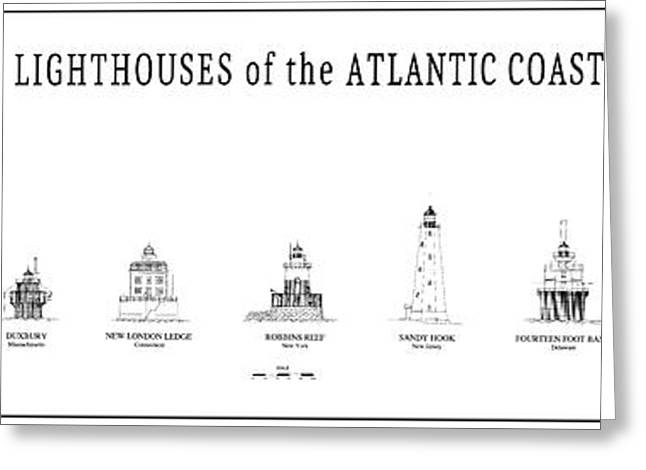 Lighthouses Of The Atlantic Coast Greeting Card by Daniel Hagerman