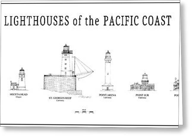 Lighthouses Of The Pacific Coast Greeting Card