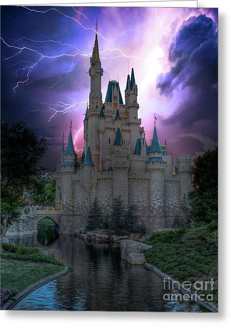 Lighting Over The Castle Greeting Card