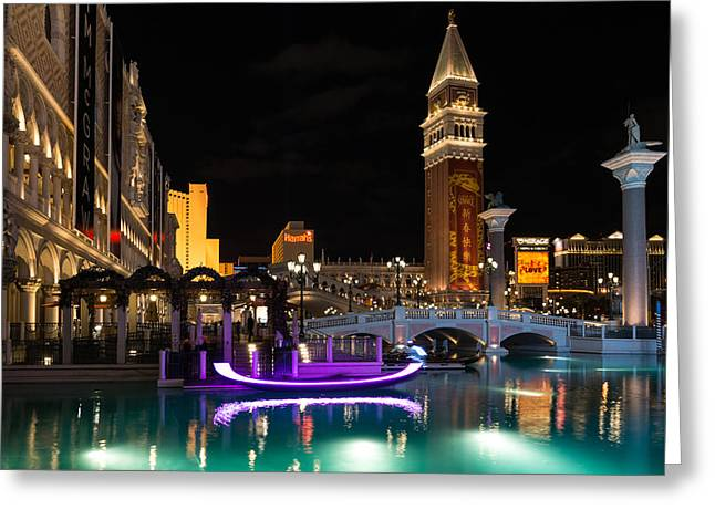 Lighting Up The Night In Neon - Colorful Canals And Gondolas At The Venetian Las Vegas Greeting Card by Georgia Mizuleva