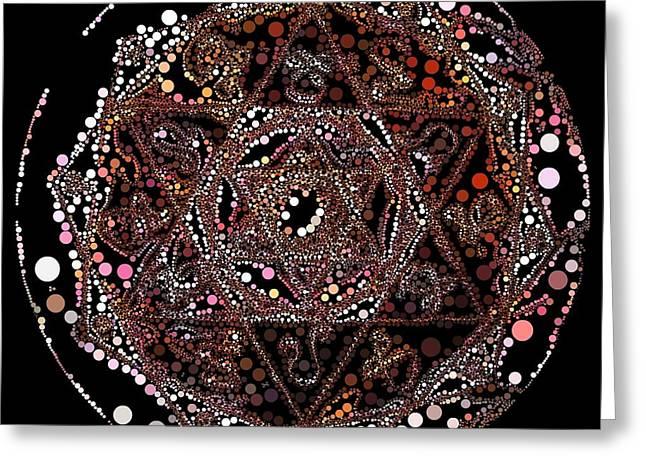 Greeting Card featuring the digital art Lightmandala 6 Star Morph 4 by Robert Thalmeier