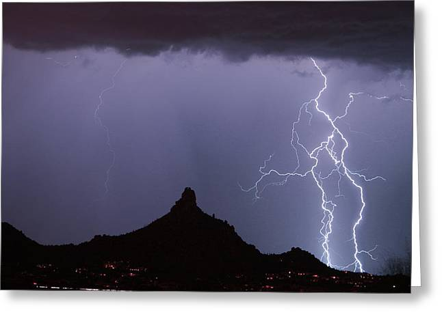 Lightnin At Pinnacle Peak Scottsdale Arizona Greeting Card