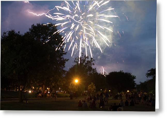 Lightning And Fireworks Greeting Card by Barbara Dodge