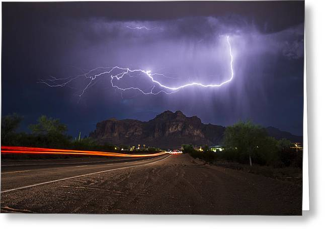 Lightning And Light-trails Greeting Card by Chuck Brown