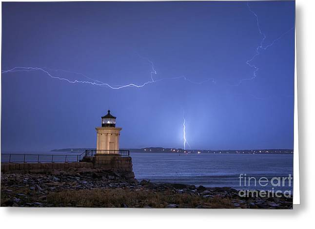 Lightning And The Lighthouse Greeting Card by Scott Thorp