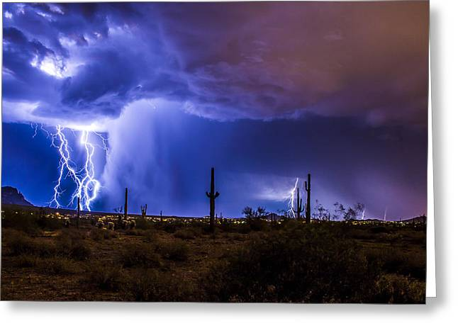 Lightning And Torrential Rain Greeting Card by Chuck Brown