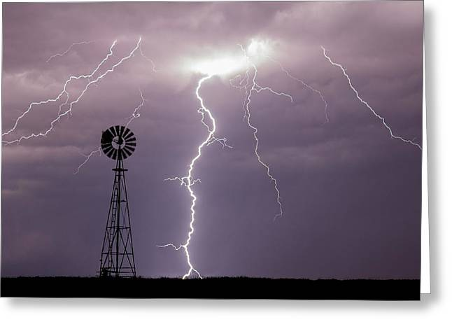 Lightning And Windmill -02 Greeting Card