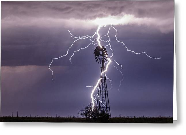 Lightning And Windmill Greeting Card