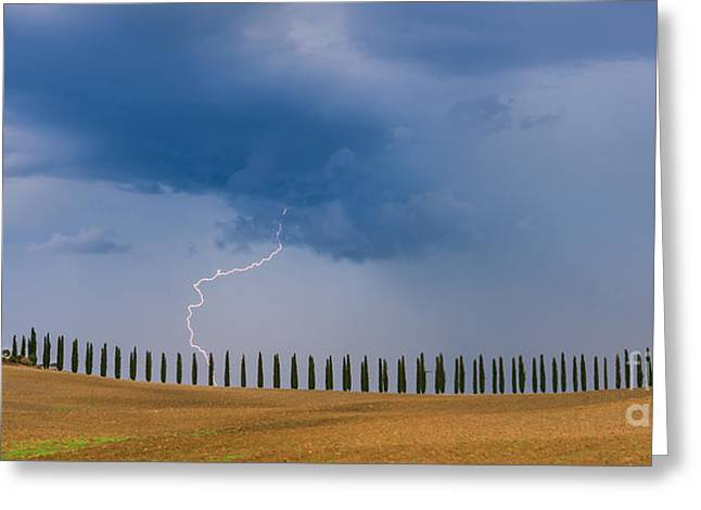 Lightning At Agriturismo Poggio Covili In The Tuscany Greeting Card by Henk Meijer Photography