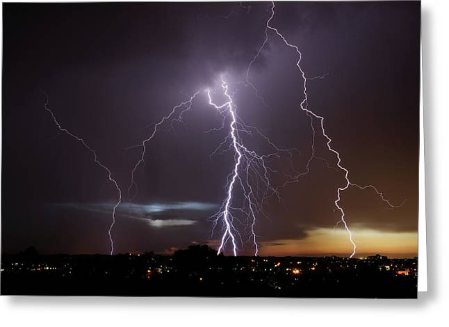 Lightning At Dusk Greeting Card