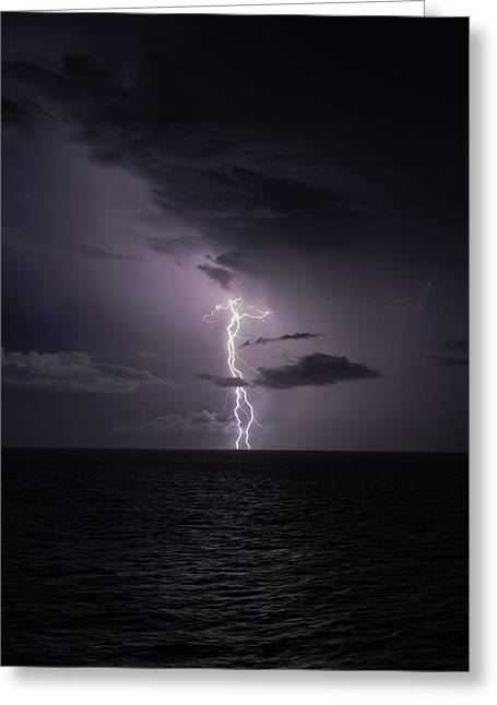 Lightning At Sea I Greeting Card