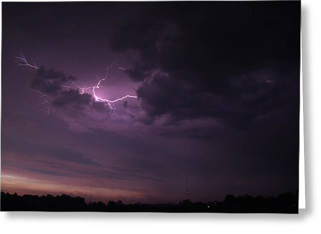 Greeting Card featuring the photograph Lightning At Sunset by Mark Dodd