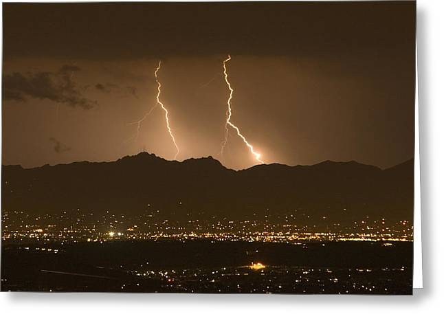 Arizona Lightning Greeting Cards - Lightning Bolt Strikes Out Of A Typical Greeting Card by Mike Theiss