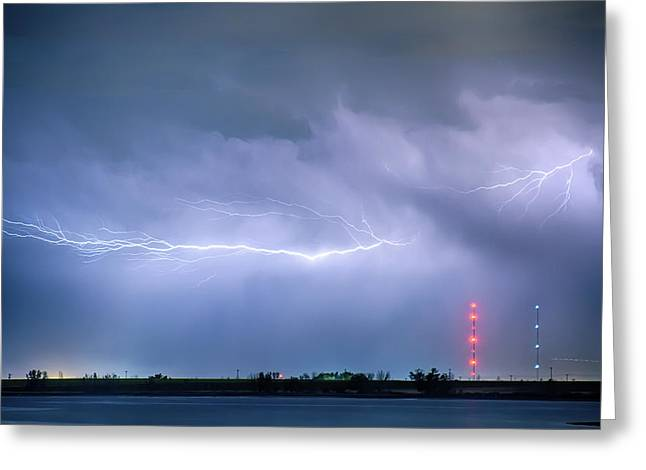 Lightning Bolting Across The Sky Greeting Card