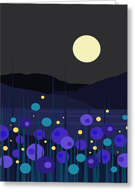 Lightning Bugs Greeting Card by Val Arie