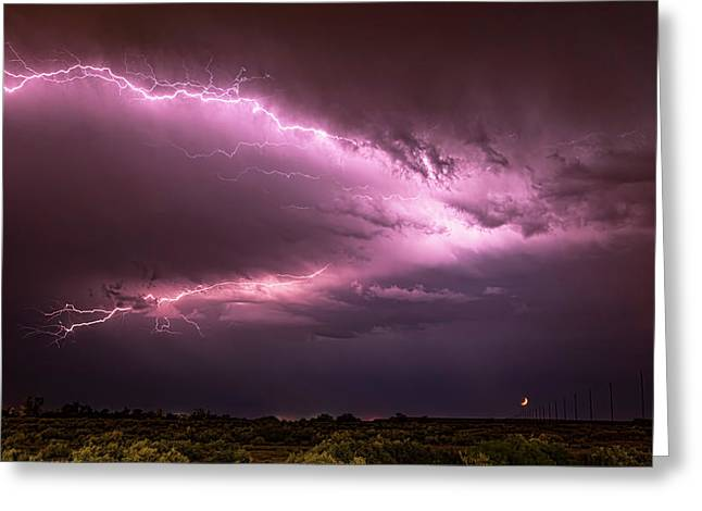 Lightning By The Crescent Moon  Greeting Card