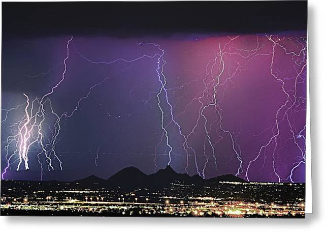 Lightning City Greeting Card by James BO  Insogna