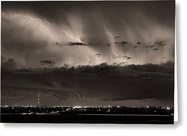 Lightning Cloud Burst Boulder County Colorado Im39 Sepia Greeting Card by James BO  Insogna