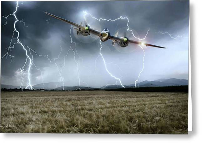 Lightning Encounter Greeting Card by Peter Chilelli