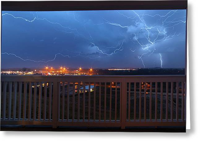 Lightning From The Balcony Greeting Card