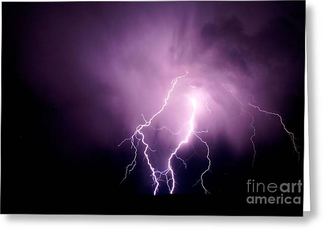 Lightning In The Desert Greeting Card