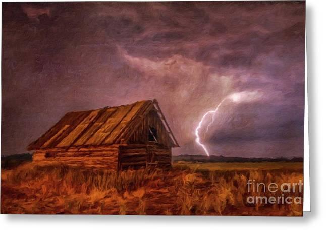 Lightning Landscape By Sarah Kirk Greeting Card