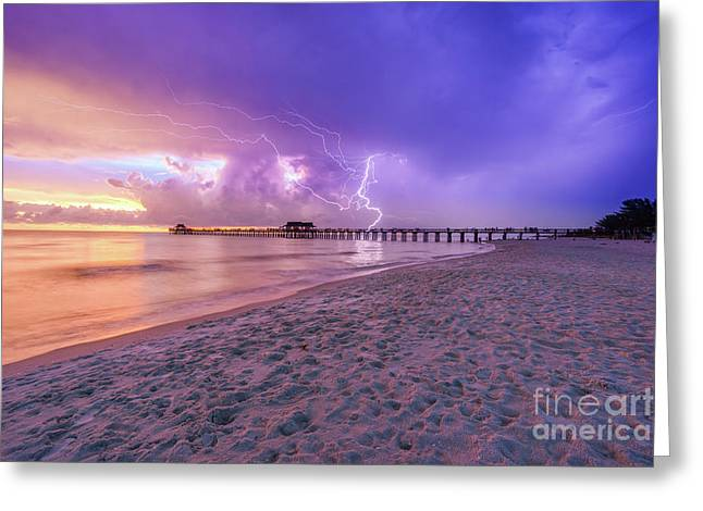Lightning Naples Pier Greeting Card