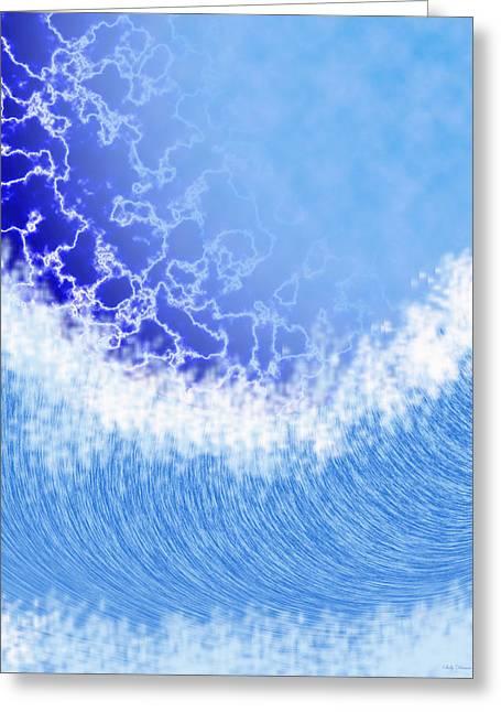 Lightning Ocean Wave Greeting Card by Sally Toro