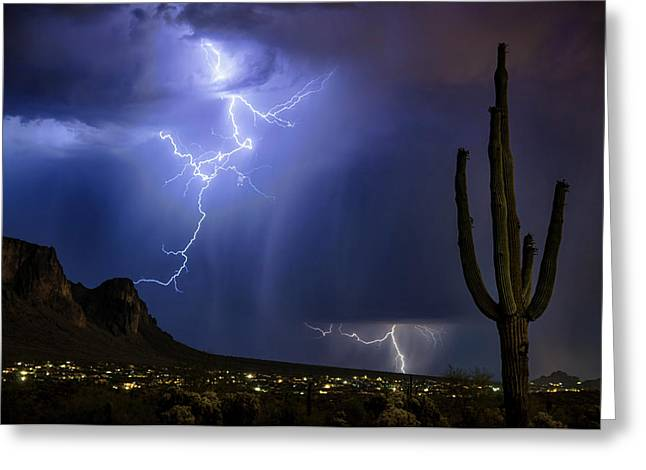 Lightning On The Mountain  Greeting Card