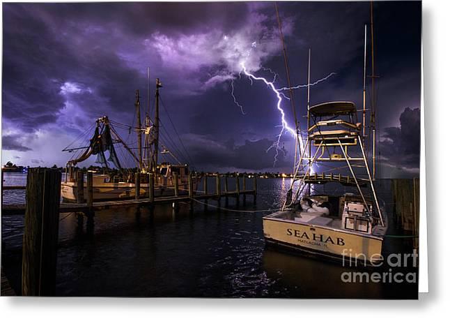 Lightning On The Sea Hab Greeting Card