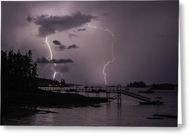 Lightning Over Boothbay Harbor Greeting Card