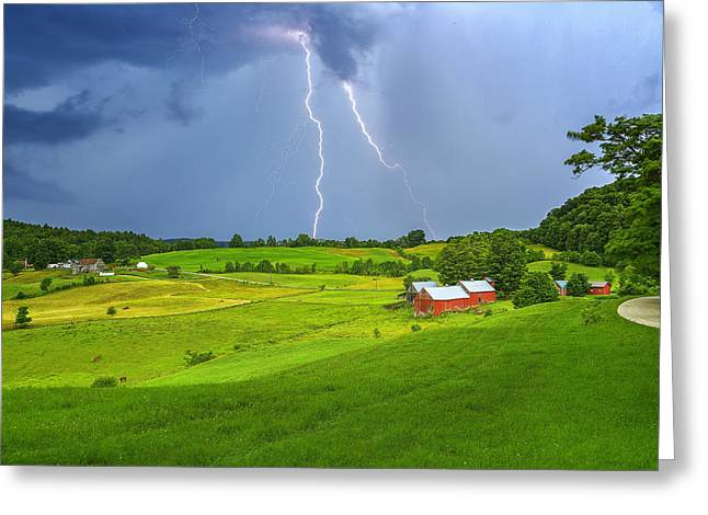 Lightning Storm Over Jenne Farm Greeting Card