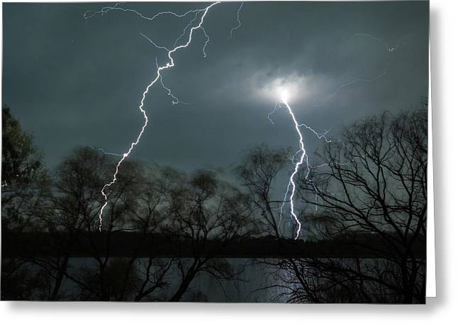 Lightning Over Little Sugarloaf Greeting Card