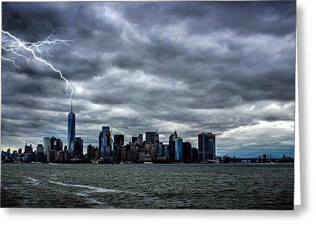 Lightning Over New York Greeting Card by Martin Newman