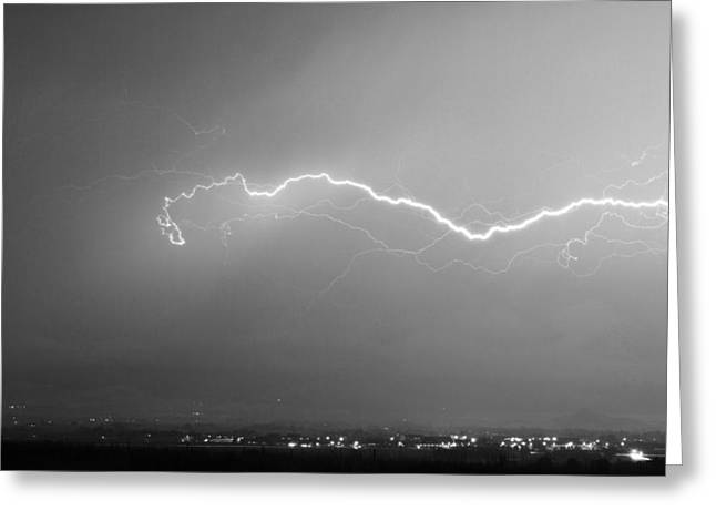 Lightning Over North Boulder Colorado  Ibm Bw Greeting Card by James BO  Insogna